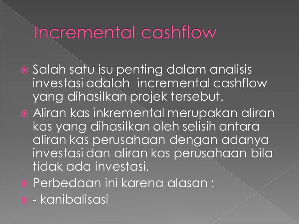  Salah satu isu penting dalam analisis investasi adalah incremental cashflow yang dihasilkan projek tersebut.  Aliran kas inkremental merupakan alir