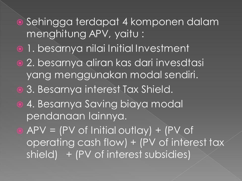  Sehingga terdapat 4 komponen dalam menghitung APV, yaitu :  1. besarnya nilai Initial Investment  2. besarnya aliran kas dari invesdtasi yang meng