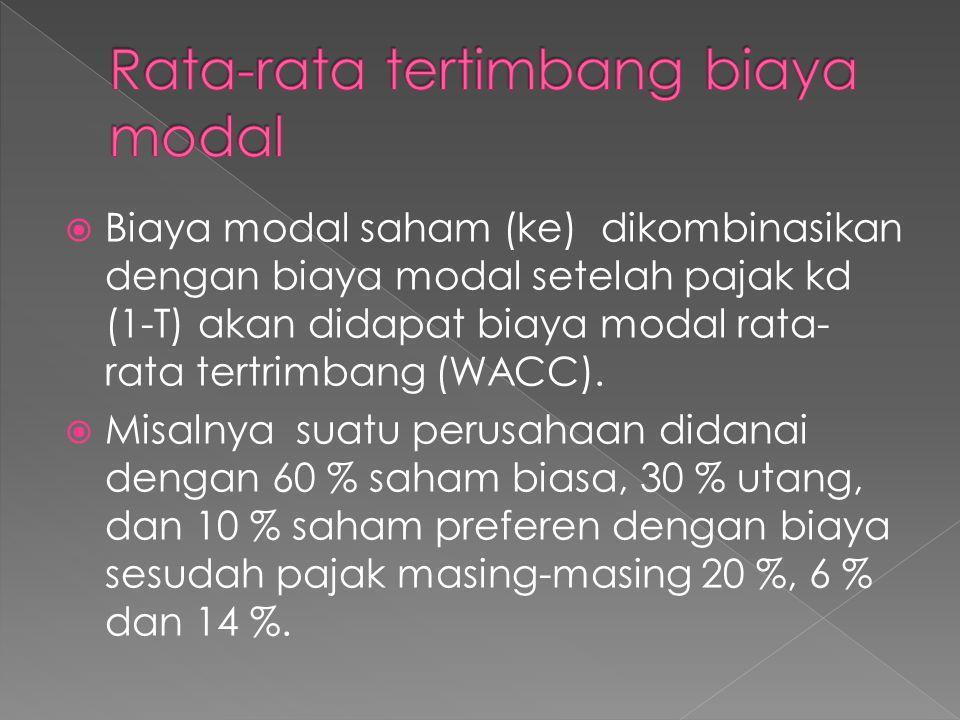  Biaya modal saham (ke) dikombinasikan dengan biaya modal setelah pajak kd (1-T) akan didapat biaya modal rata- rata tertrimbang (WACC).  Misalnya s