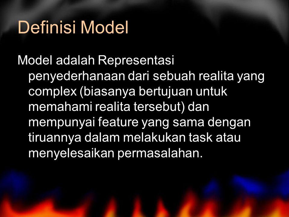 Definisi Model Model adalah Representasi penyederhanaan dari sebuah realita yang complex (biasanya bertujuan untuk memahami realita tersebut) dan mempunyai feature yang sama dengan tiruannya dalam melakukan task atau menyelesaikan permasalahan.