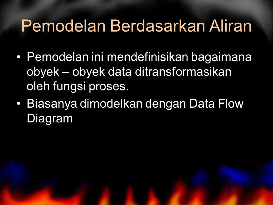 Pemodelan Berdasarkan Aliran Pemodelan ini mendefinisikan bagaimana obyek – obyek data ditransformasikan oleh fungsi proses. Biasanya dimodelkan denga