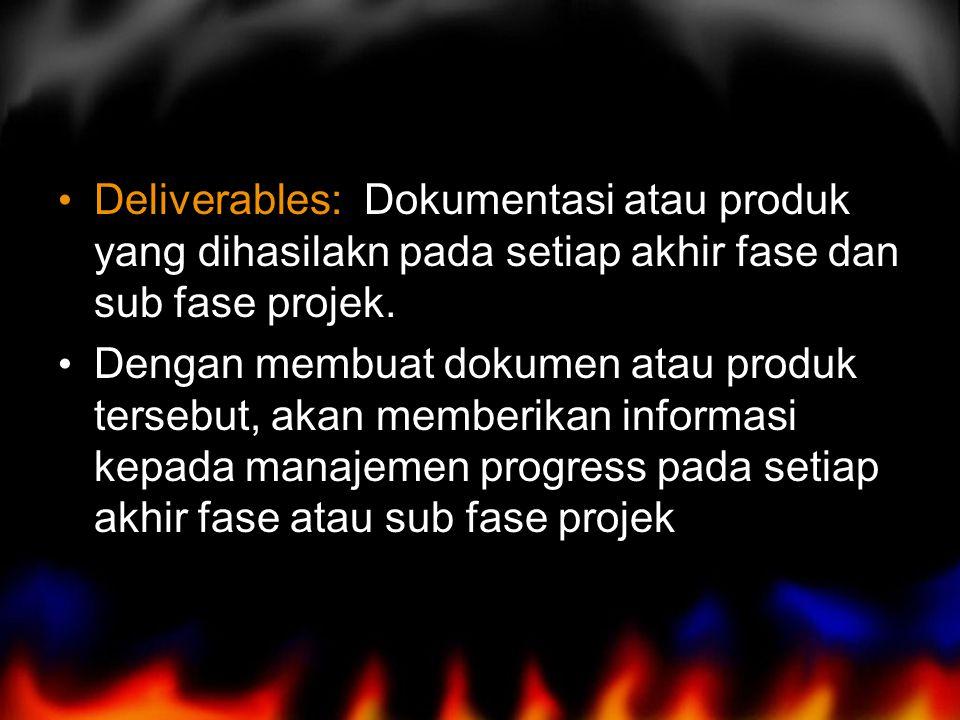 Deliverables: Dokumentasi atau produk yang dihasilakn pada setiap akhir fase dan sub fase projek. Dengan membuat dokumen atau produk tersebut, akan me