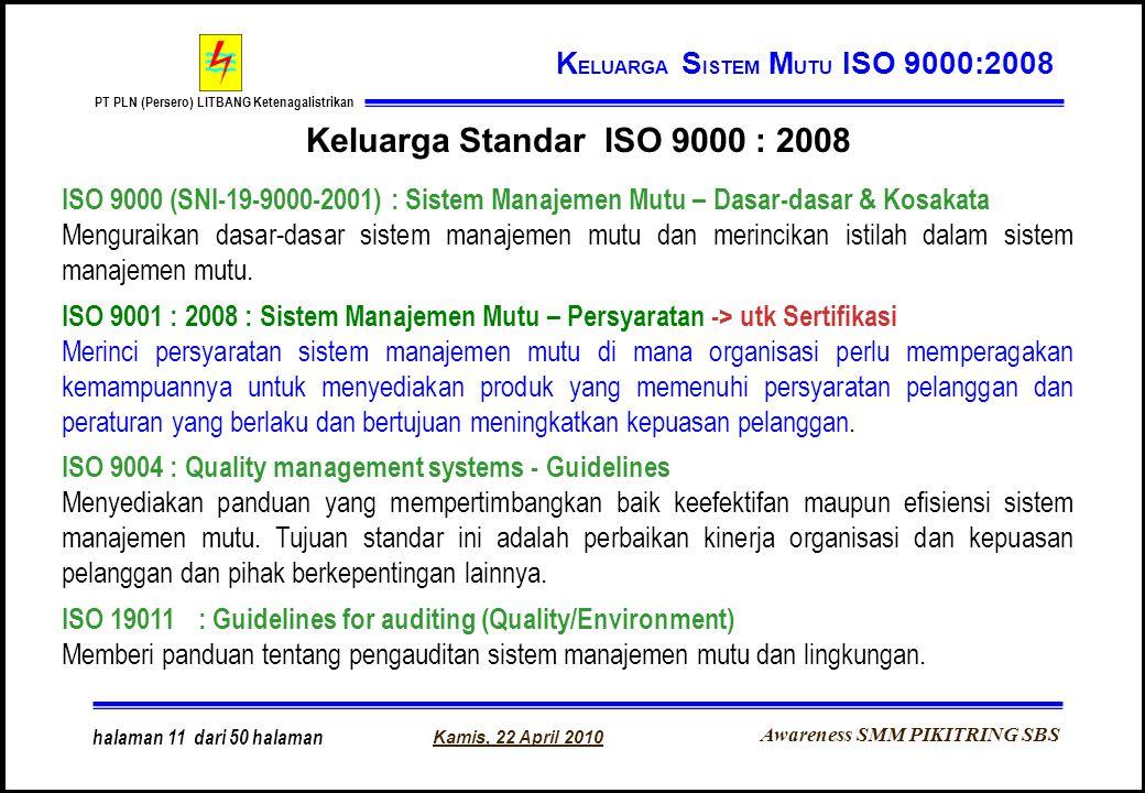 Awareness SMM PIKITRING SBS PT PLN (Persero) LITBANG Ketenagalistrikan Kamis, 22 April 2010 halaman 11 dari 50 halaman K ELUARGA S ISTEM M UTU ISO 900
