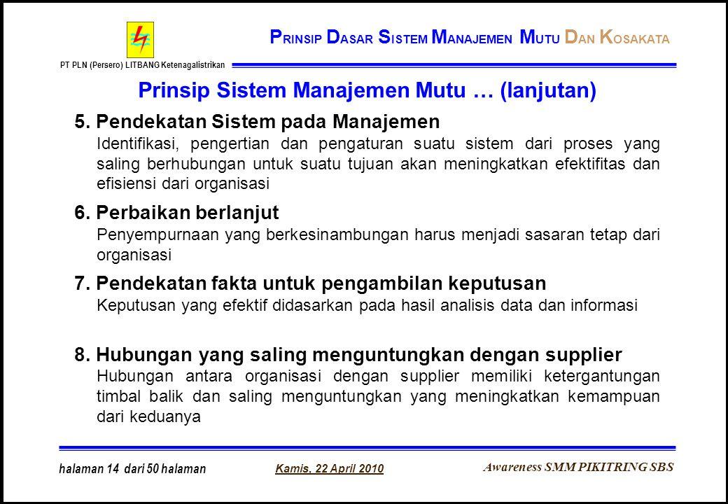 Awareness SMM PIKITRING SBS PT PLN (Persero) LITBANG Ketenagalistrikan Kamis, 22 April 2010 halaman 14 dari 50 halaman Prinsip Sistem Manajemen Mutu …