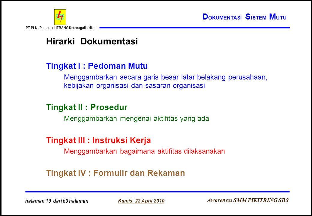 Awareness SMM PIKITRING SBS PT PLN (Persero) LITBANG Ketenagalistrikan Kamis, 22 April 2010 halaman 19 dari 50 halaman Hirarki Dokumentasi Tingkat I :