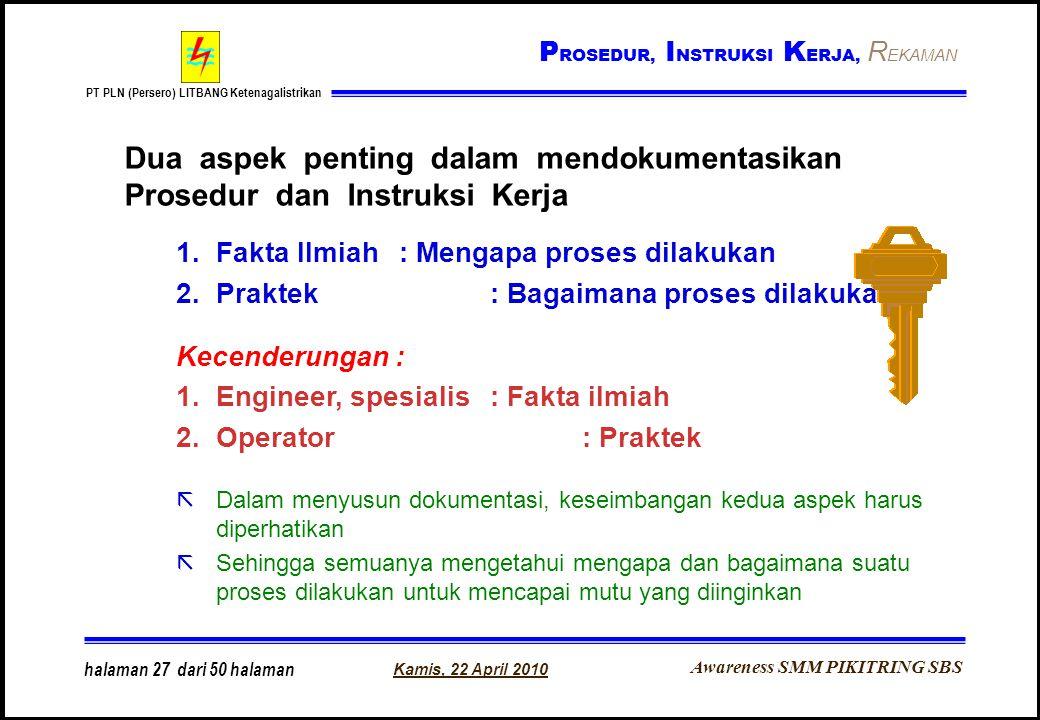 Awareness SMM PIKITRING SBS PT PLN (Persero) LITBANG Ketenagalistrikan Kamis, 22 April 2010 halaman 27 dari 50 halaman Dua aspek penting dalam mendoku
