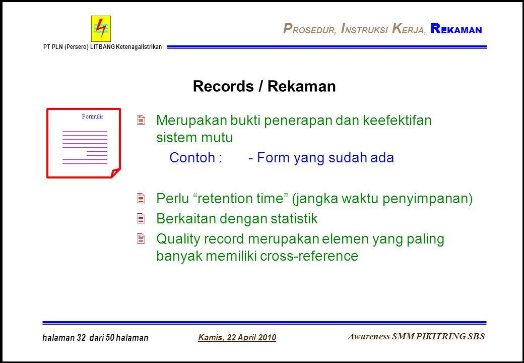 Awareness SMM PIKITRING SBS PT PLN (Persero) LITBANG Ketenagalistrikan Kamis, 22 April 2010 halaman 32 dari 50 halaman Records / Rekaman 2Merupakan bu