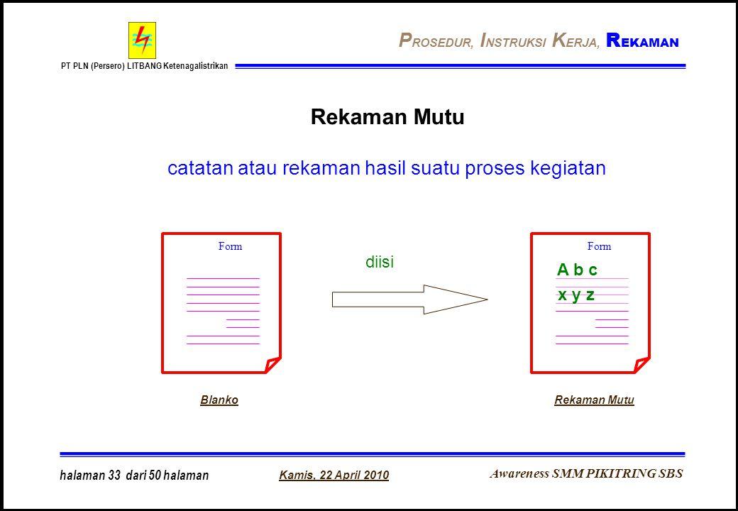 Awareness SMM PIKITRING SBS PT PLN (Persero) LITBANG Ketenagalistrikan Kamis, 22 April 2010 halaman 33 dari 50 halaman Rekaman Mutu catatan atau rekam