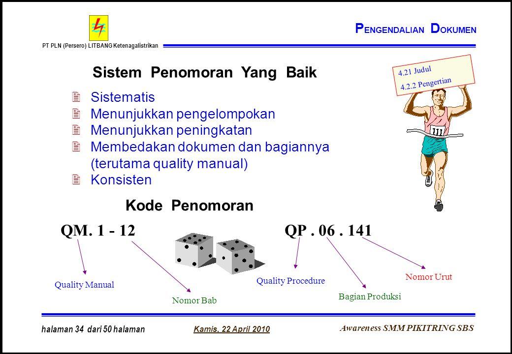 Awareness SMM PIKITRING SBS PT PLN (Persero) LITBANG Ketenagalistrikan Kamis, 22 April 2010 halaman 34 dari 50 halaman Sistem Penomoran Yang Baik 2Sis