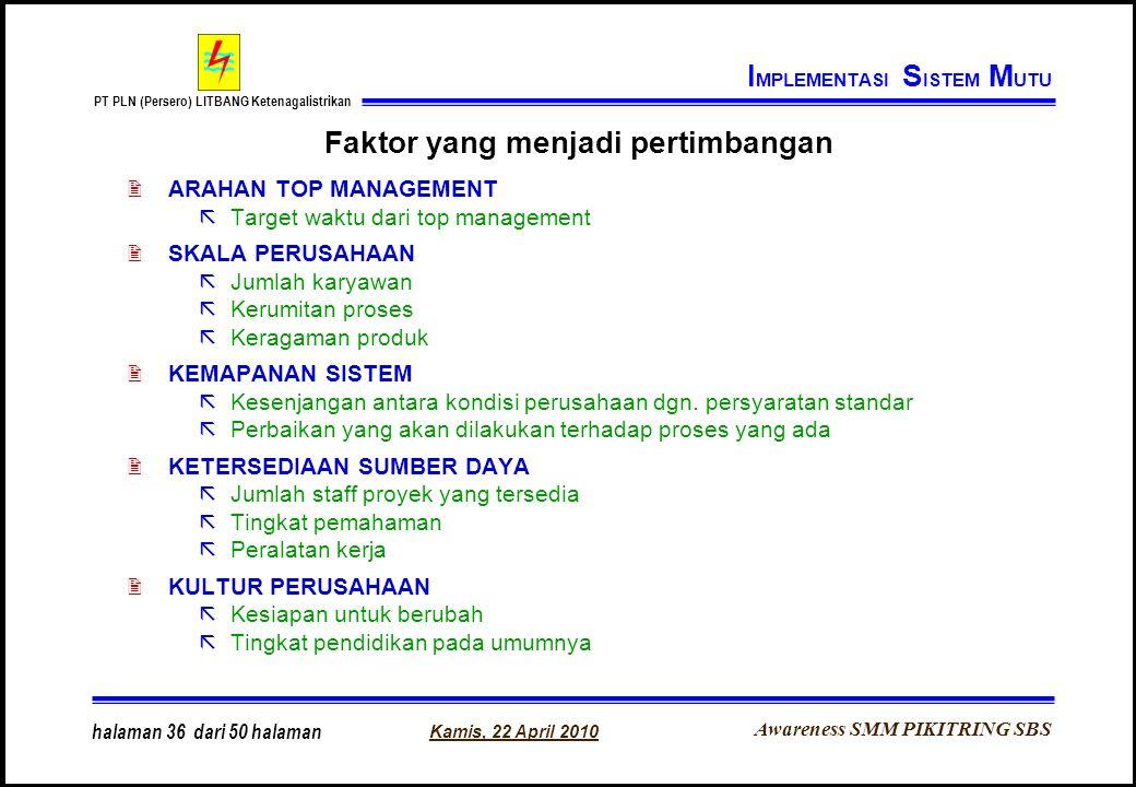 Awareness SMM PIKITRING SBS PT PLN (Persero) LITBANG Ketenagalistrikan Kamis, 22 April 2010 halaman 36 dari 50 halaman Faktor yang menjadi pertimbanga