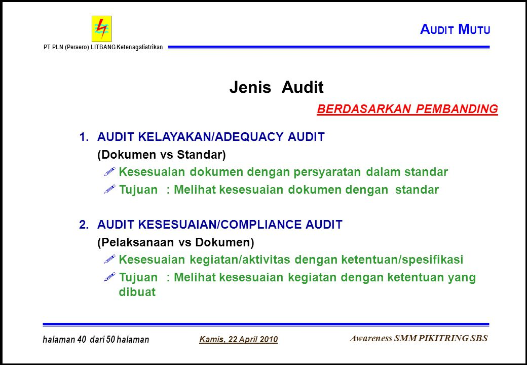 Awareness SMM PIKITRING SBS PT PLN (Persero) LITBANG Ketenagalistrikan Kamis, 22 April 2010 halaman 40 dari 50 halaman Jenis Audit 1.AUDIT KELAYAKAN/A