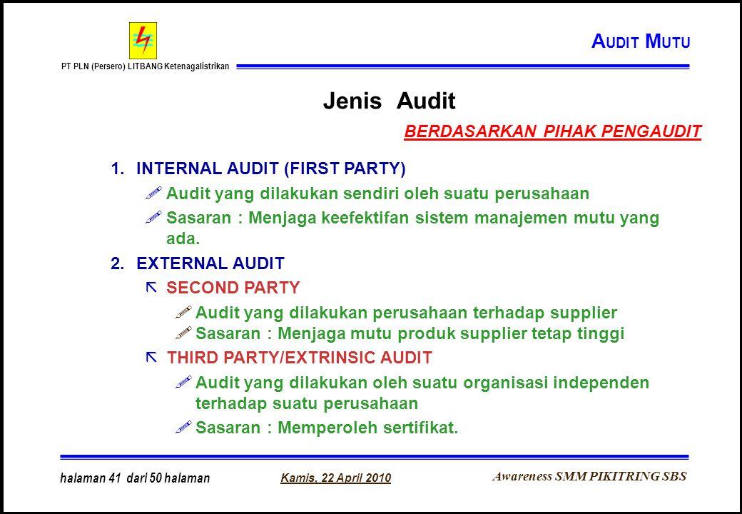 Awareness SMM PIKITRING SBS PT PLN (Persero) LITBANG Ketenagalistrikan Kamis, 22 April 2010 halaman 41 dari 50 halaman Jenis Audit 1.INTERNAL AUDIT (F