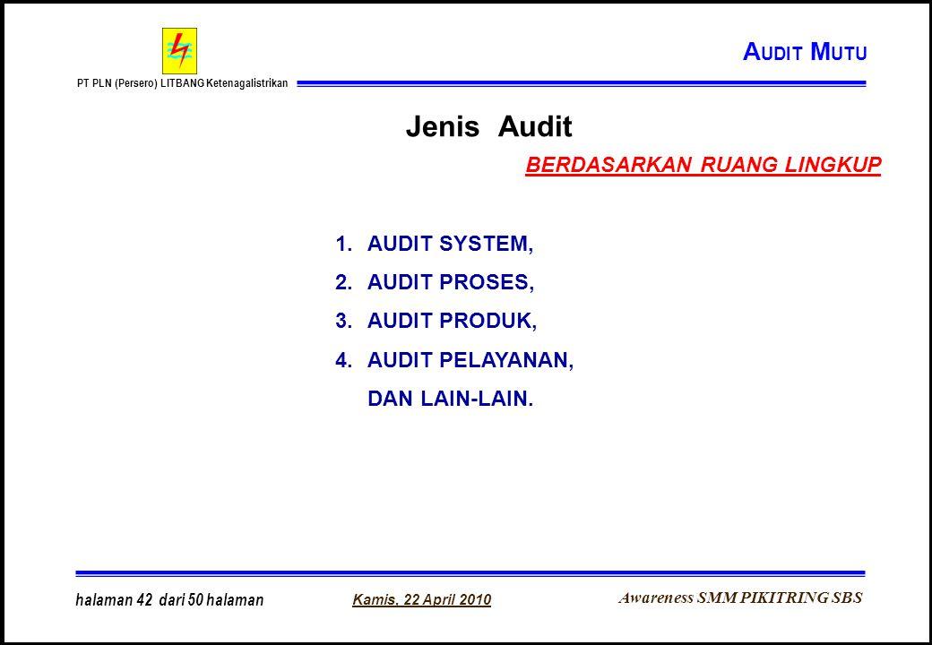 Awareness SMM PIKITRING SBS PT PLN (Persero) LITBANG Ketenagalistrikan Kamis, 22 April 2010 halaman 42 dari 50 halaman Jenis Audit 1.AUDIT SYSTEM, 2.A