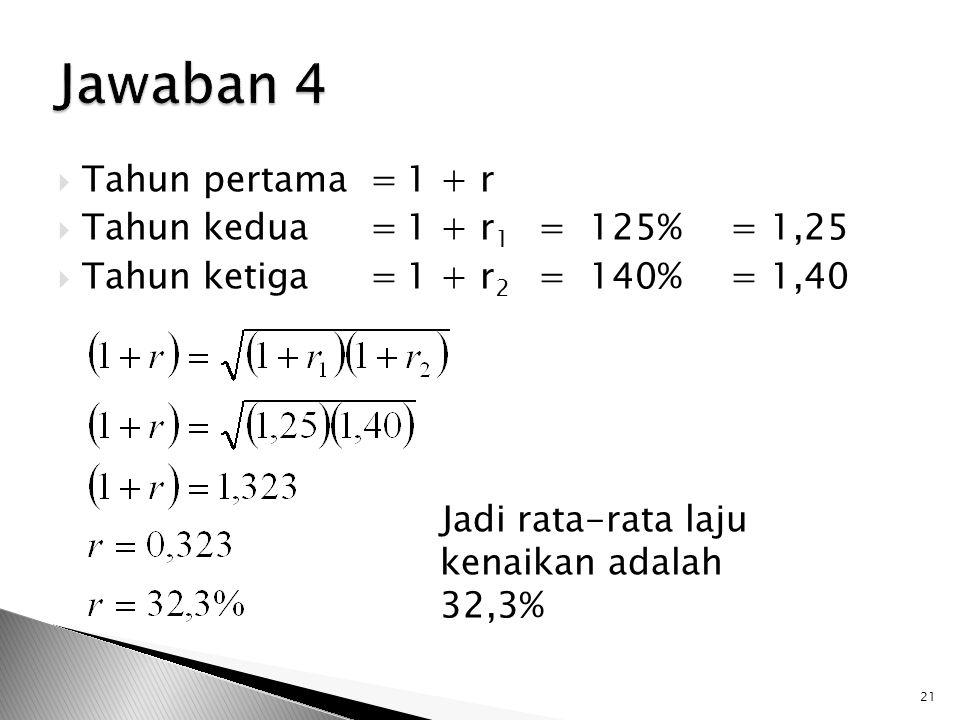  Tahun pertama=1 + r  Tahun kedua=1 + r 1 = 125%= 1,25  Tahun ketiga=1 + r 2 = 140%= 1,40 Jadi rata-rata laju kenaikan adalah 32,3% 21