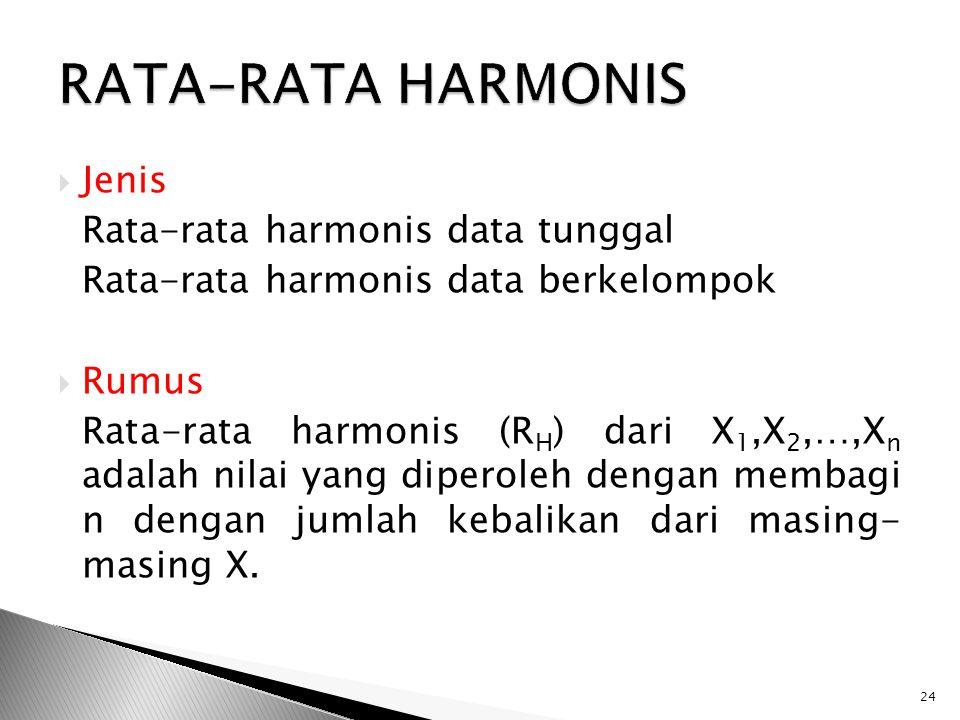  Jenis Rata-rata harmonis data tunggal Rata-rata harmonis data berkelompok  Rumus Rata-rata harmonis (R H ) dari X 1,X 2,…,X n adalah nilai yang dip