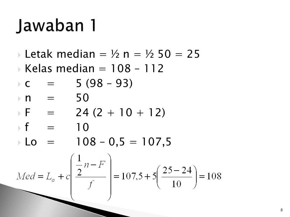  Letak modus =13  Kelas median = 103 – 107  c=5 (98 – 93)  n=50  b 1 =2 (12 – 10)  atas  b 2 =2 (12 – 10)  bawah  Lo=103 – 0,5 = 102,5 9
