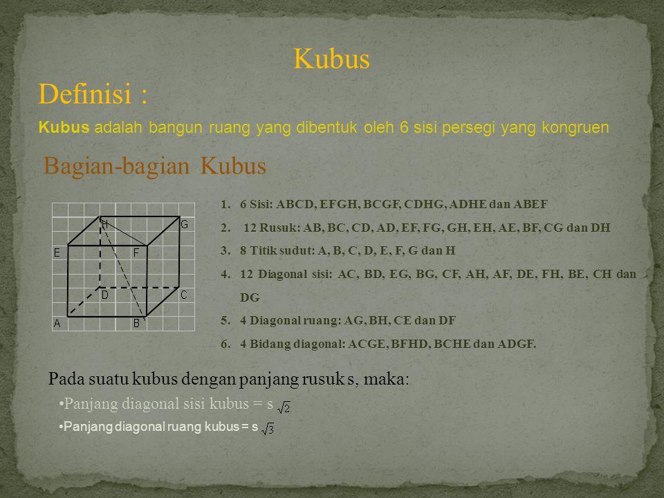 Kubus Definisi : Kubus adalah bangun ruang yang dibentuk oleh 6 sisi persegi yang kongruen Bagian-bagian Kubus 1.6 Sisi: ABCD, EFGH, BCGF, CDHG, ADHE dan ABEF 2.