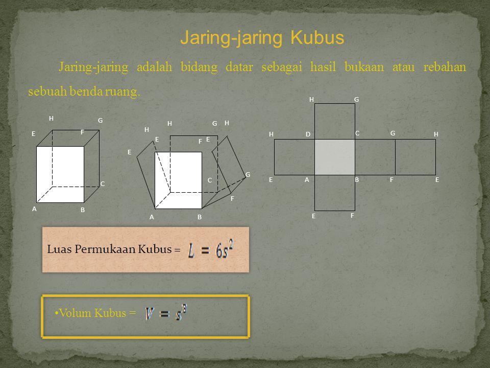 Jaring-jaring Kubus Jaring-jaring adalah bidang datar sebagai hasil bukaan atau rebahan sebuah benda ruang.