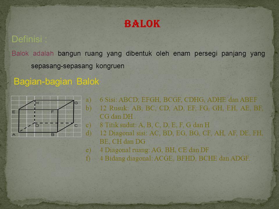 Balok Definisi : Balok adalah bangun ruang yang dibentuk oleh enam persegi panjang yang sepasang-sepasang kongruen Bagian-bagian Balok a)6 Sisi: ABCD, EFGH, BCGF, CDHG, ADHE dan ABEF b)12 Rusuk: AB, BC, CD, AD, EF, FG, GH, EH, AE, BF, CG dan DH c)8 Titik sudut: A, B, C, D, E, F, G dan H d)12 Diagonal sisi: AC, BD, EG, BG, CF, AH, AF, DE, FH, BE, CH dan DG e)4 Diagonal ruang: AG, BH, CE dan DF f)4 Bidang diagonal: ACGE, BFHD, BCHE dan ADGF.