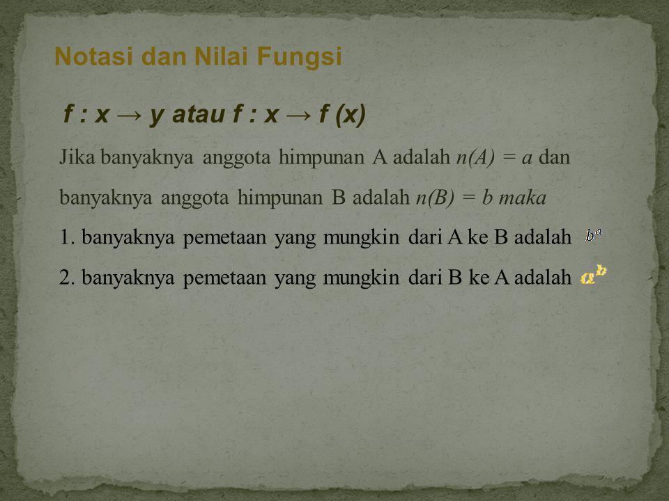 Notasi dan Nilai Fungsi f : x → y atau f : x → f (x) Jika banyaknya anggota himpunan A adalah n(A) = a dan banyaknya anggota himpunan B adalah n(B) = b maka 1.