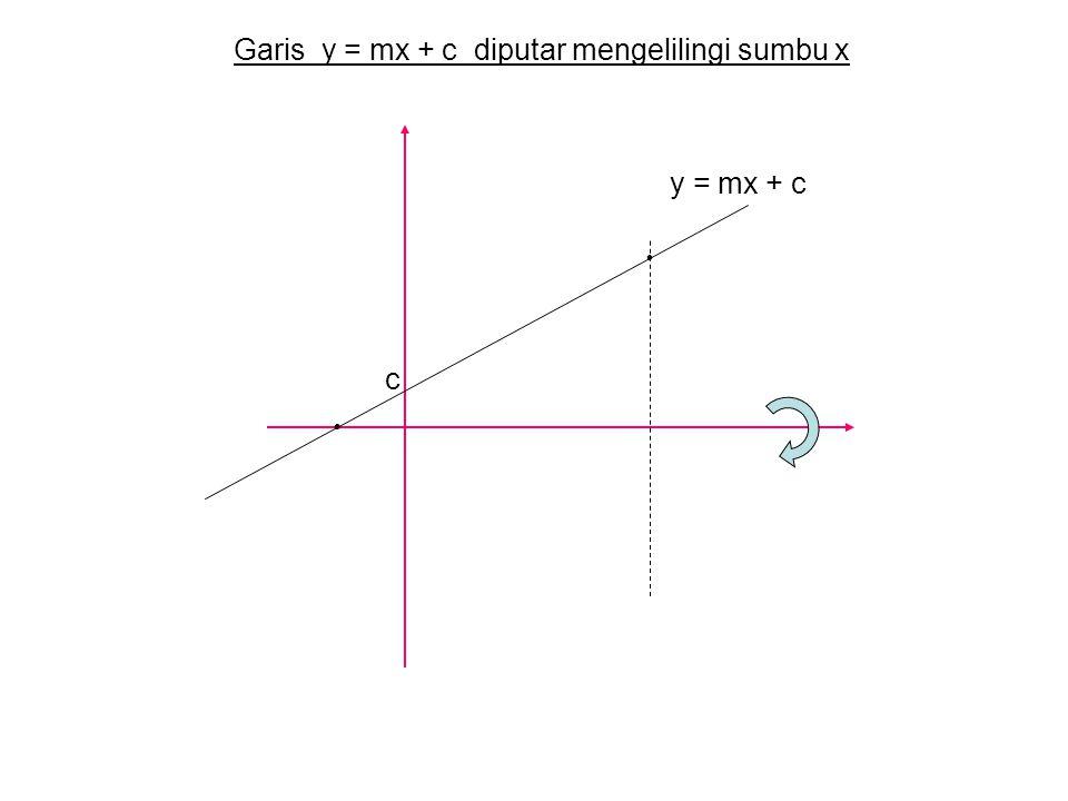y = mx + c c Garis y = mx + c diputar mengelilingi sumbu x