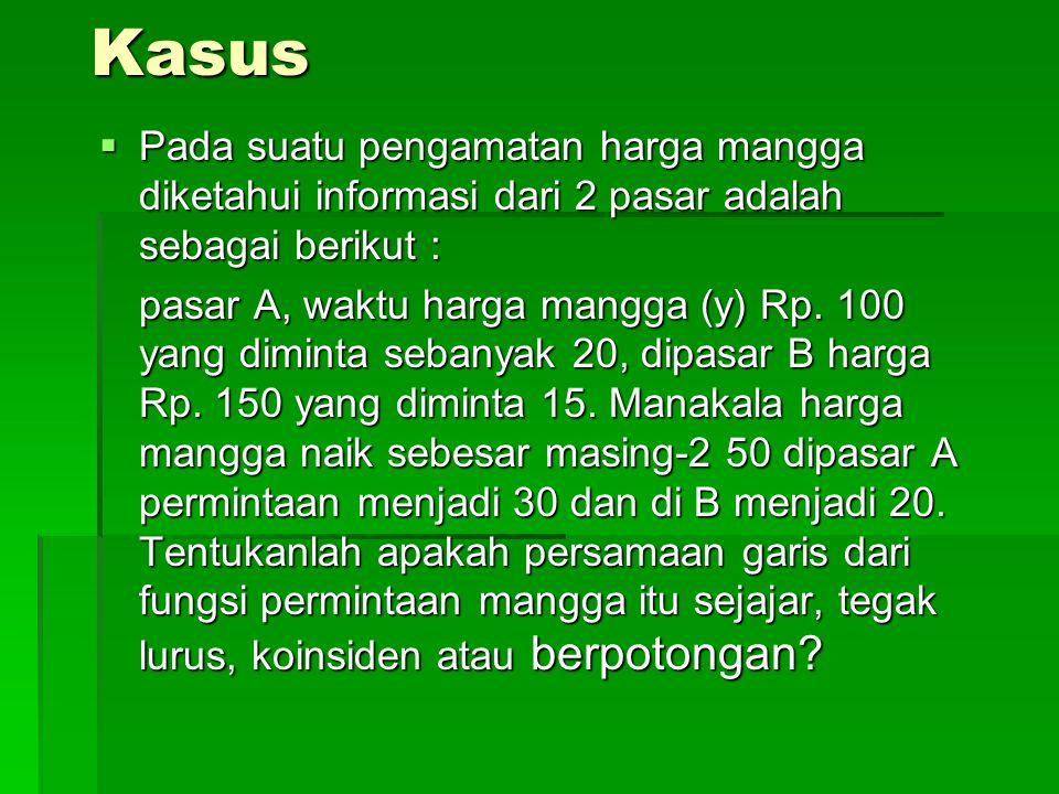 Kasus  Pada suatu pengamatan harga mangga diketahui informasi dari 2 pasar adalah sebagai berikut : pasar A, waktu harga mangga (y) Rp.