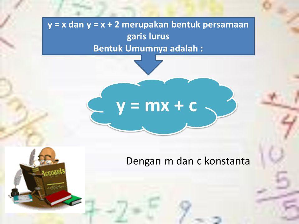 Dengan m dan c konstanta y = x dan y = x + 2 merupakan bentuk persamaan garis lurus Bentuk Umumnya adalah : y = mx + c