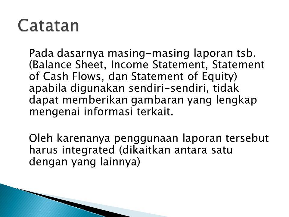 Pada dasarnya masing-masing laporan tsb. (Balance Sheet, Income Statement, Statement of Cash Flows, dan Statement of Equity) apabila digunakan sendiri