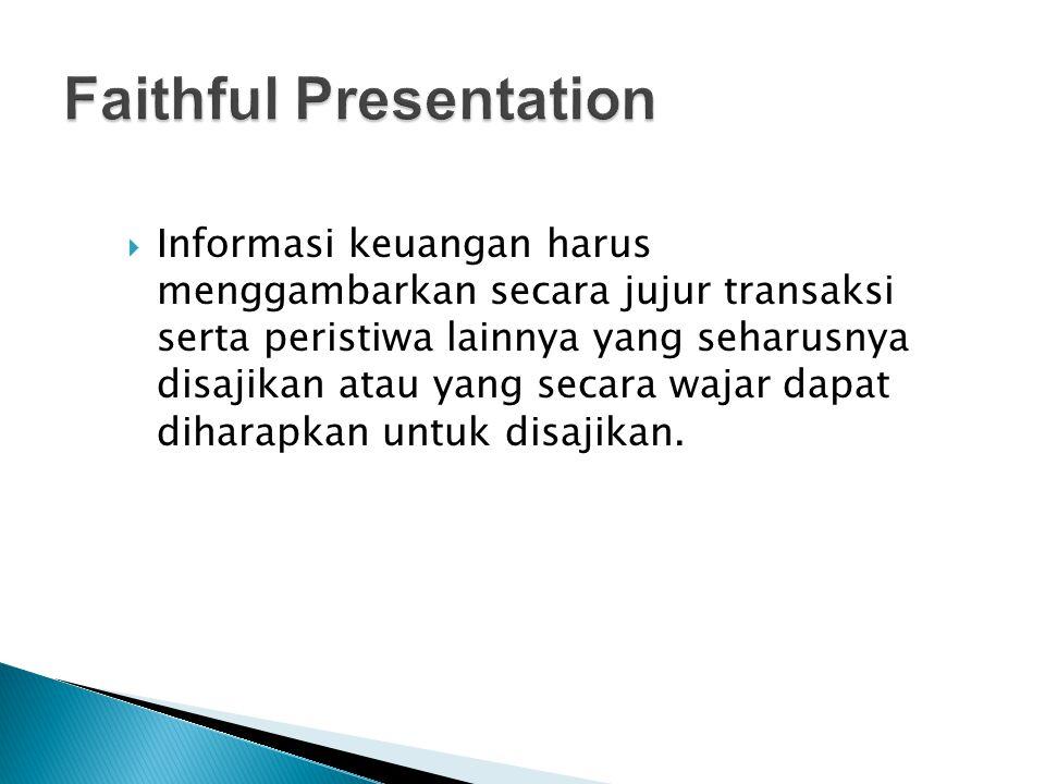  Informasi keuangan harus menggambarkan secara jujur transaksi serta peristiwa lainnya yang seharusnya disajikan atau yang secara wajar dapat diharap