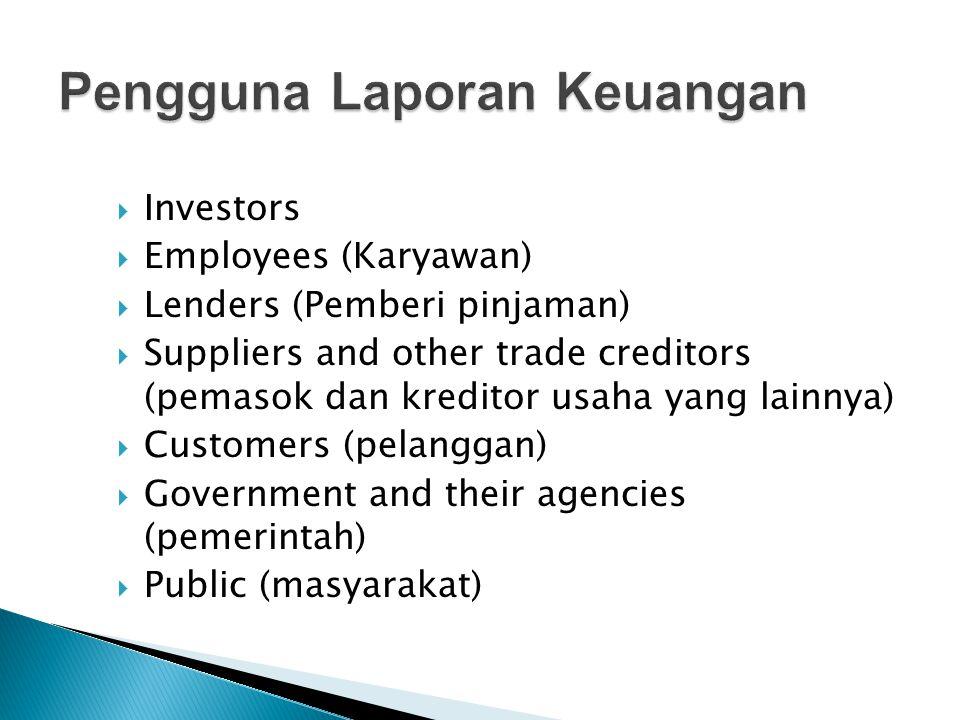  Investors  Employees (Karyawan)  Lenders (Pemberi pinjaman)  Suppliers and other trade creditors (pemasok dan kreditor usaha yang lainnya)  Cust
