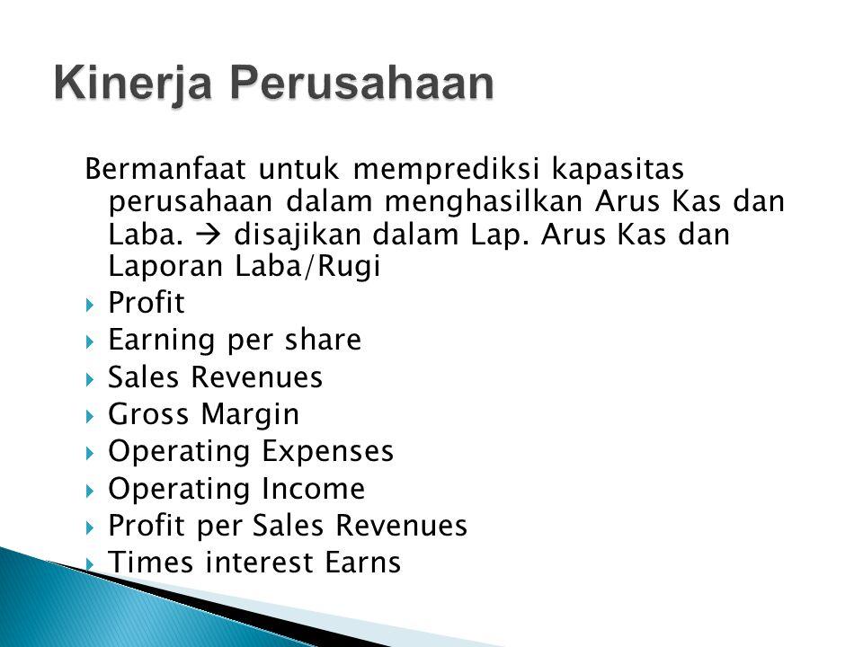 Bermanfaat untuk memprediksi kapasitas perusahaan dalam menghasilkan Arus Kas dan Laba.  disajikan dalam Lap. Arus Kas dan Laporan Laba/Rugi  Profit