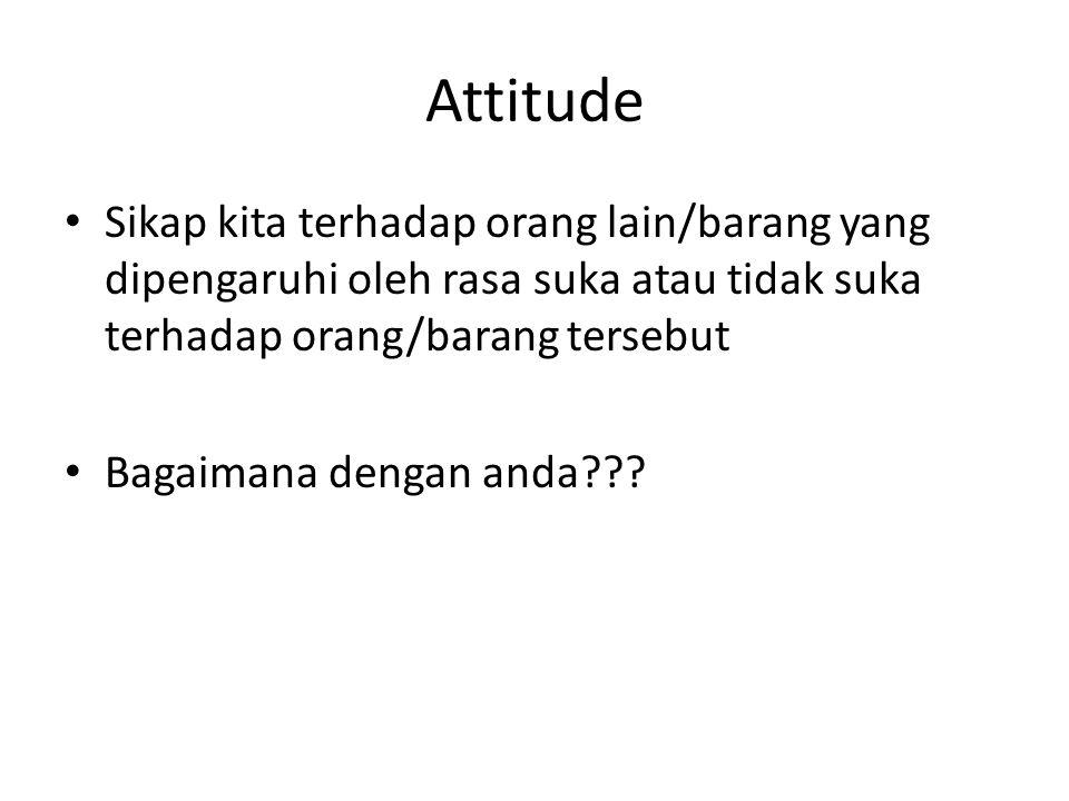 Attitude Sikap kita terhadap orang lain/barang yang dipengaruhi oleh rasa suka atau tidak suka terhadap orang/barang tersebut Bagaimana dengan anda