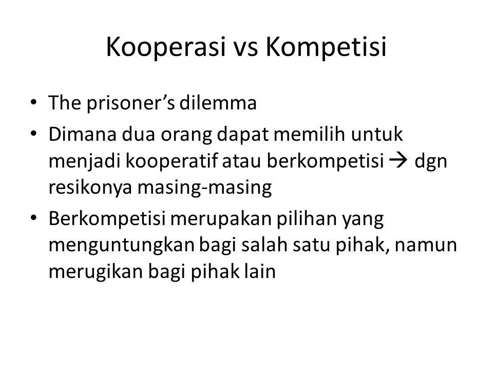Kooperasi vs Kompetisi The prisoner's dilemma Dimana dua orang dapat memilih untuk menjadi kooperatif atau berkompetisi  dgn resikonya masing-masing Berkompetisi merupakan pilihan yang menguntungkan bagi salah satu pihak, namun merugikan bagi pihak lain
