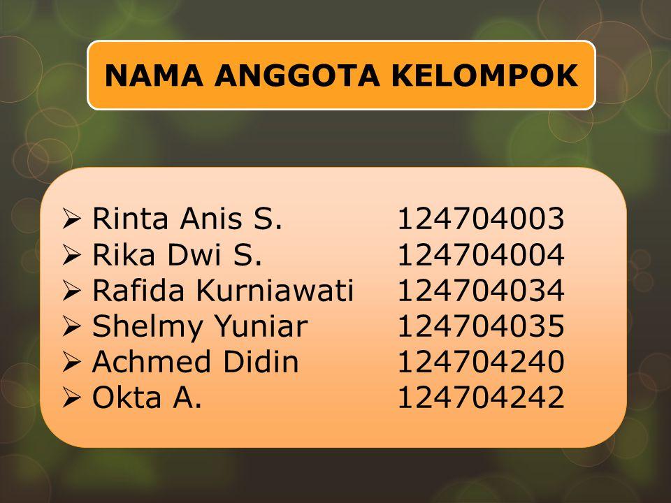 NAMA ANGGOTA KELOMPOK  Rinta Anis S.124704003  Rika Dwi S.124704004  Rafida Kurniawati124704034  Shelmy Yuniar124704035  Achmed Didin124704240 