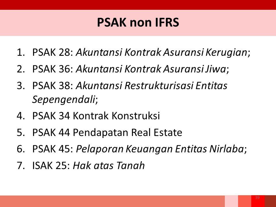PSAK non IFRS 1.PSAK 28: Akuntansi Kontrak Asuransi Kerugian; 2.PSAK 36: Akuntansi Kontrak Asuransi Jiwa; 3.PSAK 38: Akuntansi Restrukturisasi Entitas