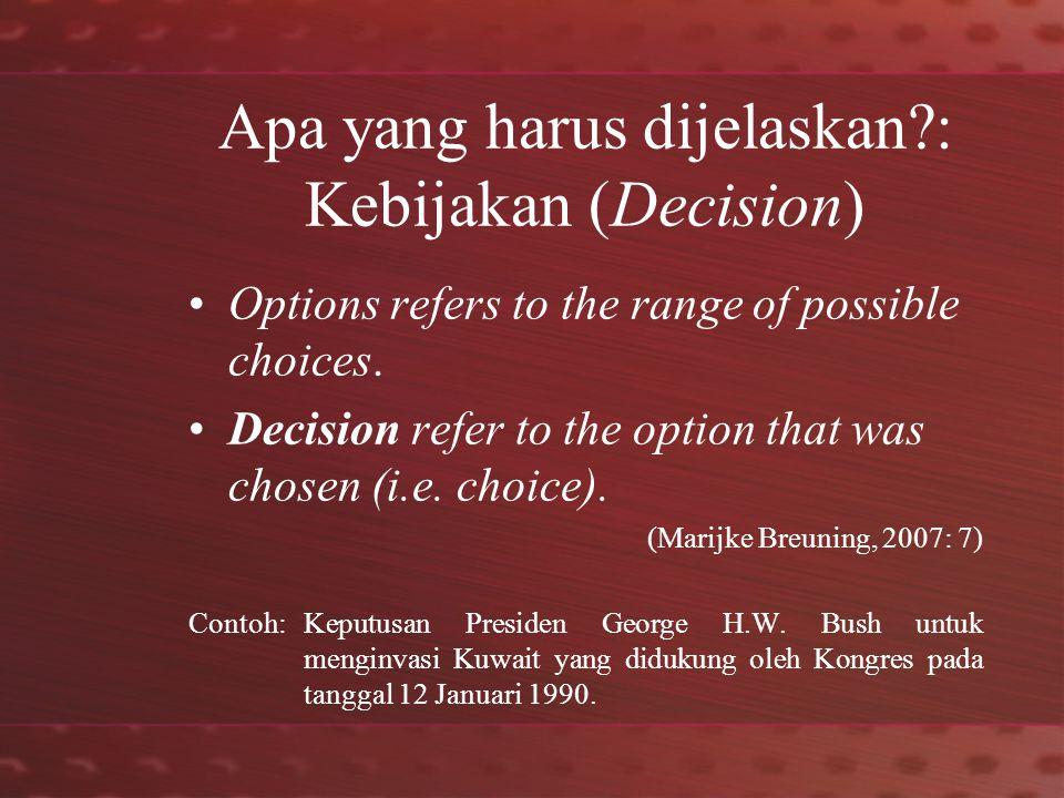Apa yang harus dijelaskan : Kebijakan (Decision) Options refers to the range of possible choices.