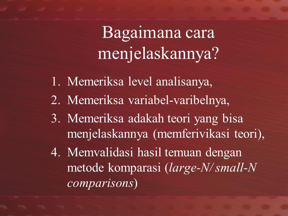 Pengaruh Level Analisa (Marijke Breuning, 2007: 15)