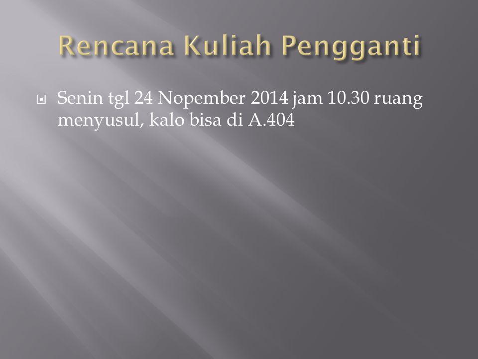  Senin tgl 24 Nopember 2014 jam 10.30 ruang menyusul, kalo bisa di A.404