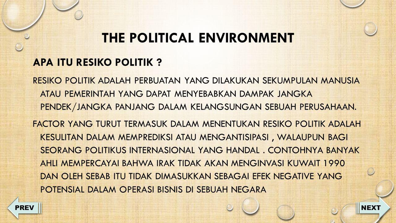 THE POLITICAL ENVIRONMENT APA ITU RESIKO POLITIK .