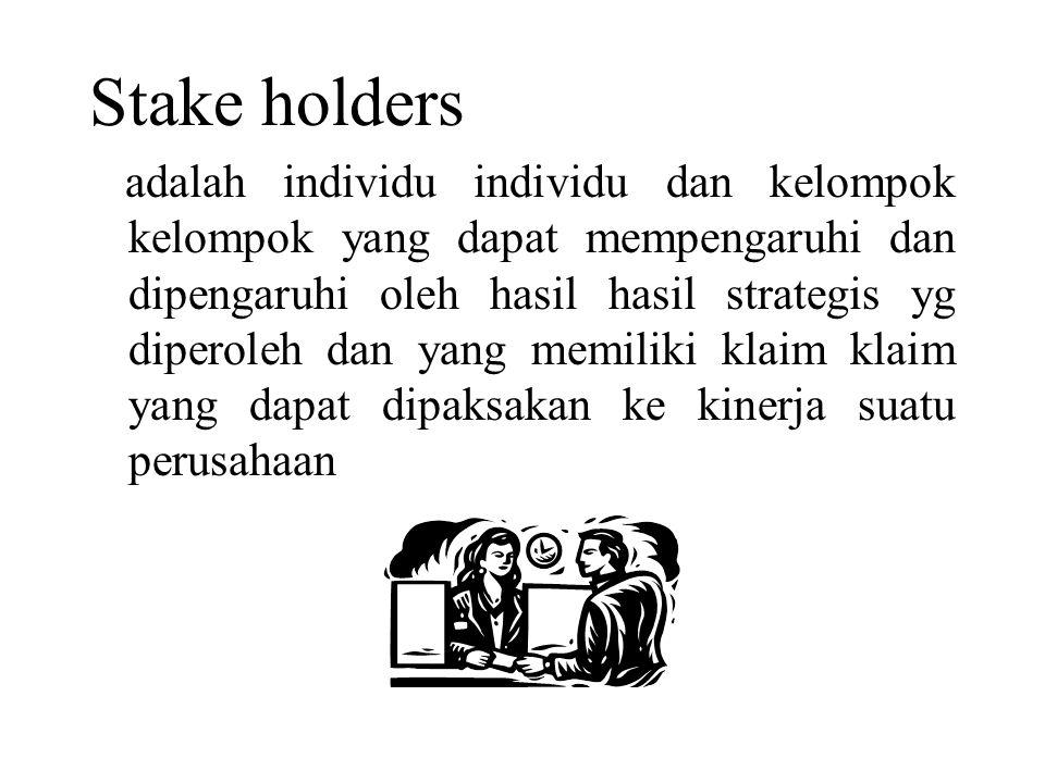 Stake holders adalah individu individu dan kelompok kelompok yang dapat mempengaruhi dan dipengaruhi oleh hasil hasil strategis yg diperoleh dan yang