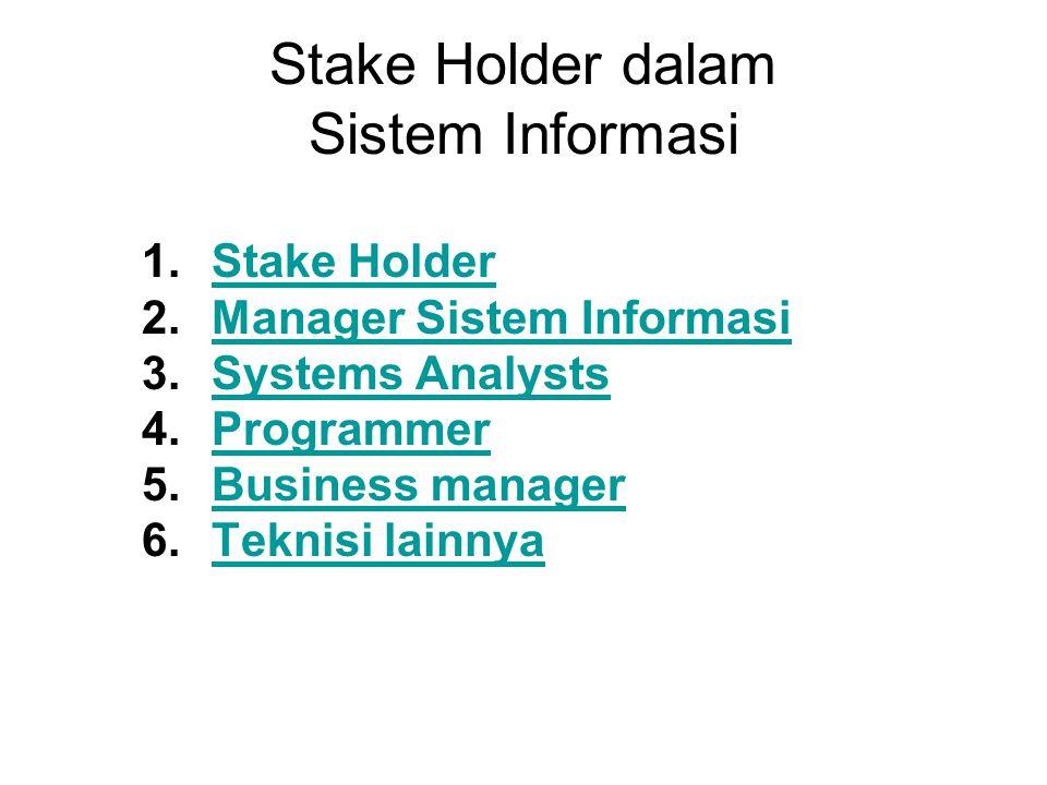 Stake Holder dalam Sistem Informasi 1.Stake HolderStake Holder 2.Manager Sistem InformasiManager Sistem Informasi 3.Systems AnalystsSystems Analysts 4