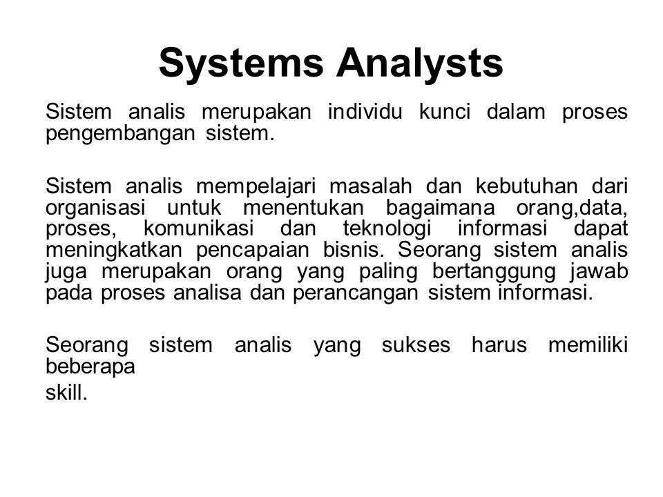 Systems Analysts Sistem analis merupakan individu kunci dalam proses pengembangan sistem. Sistem analis mempelajari masalah dan kebutuhan dari organis