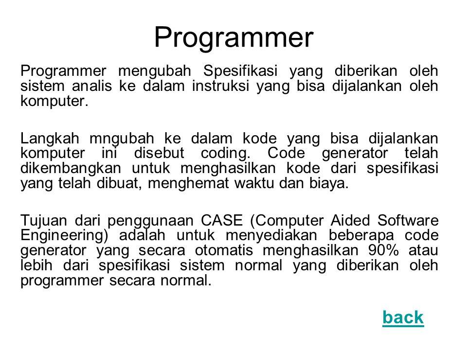 Programmer Programmer mengubah Spesifikasi yang diberikan oleh sistem analis ke dalam instruksi yang bisa dijalankan oleh komputer. Langkah mngubah ke