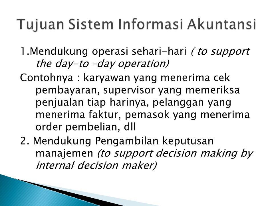 1.Mendukung operasi sehari-hari ( to support the day-to –day operation) Contohnya : karyawan yang menerima cek pembayaran, supervisor yang memeriksa p