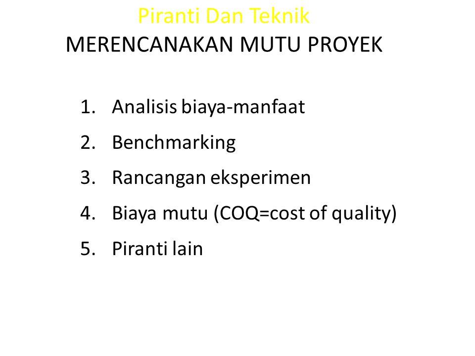 Piranti Dan Teknik MERENCANAKAN MUTU PROYEK 1.Analisis biaya-manfaat 2.Benchmarking 3.Rancangan eksperimen 4.Biaya mutu (COQ=cost of quality) 5.Pirant
