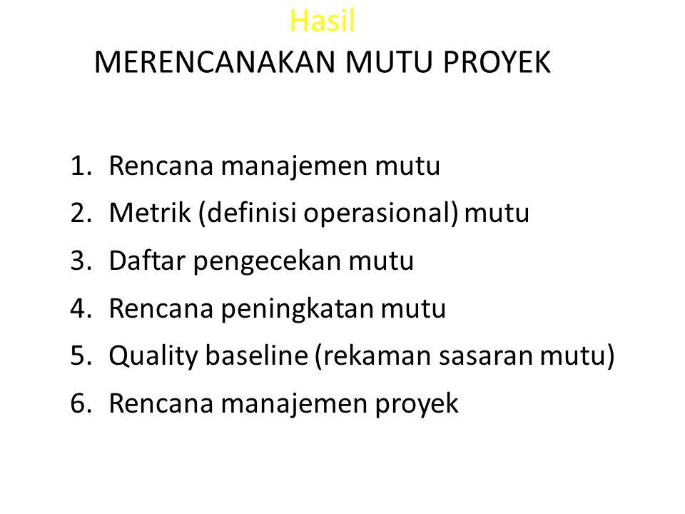 Hasil MERENCANAKAN MUTU PROYEK 1.Rencana manajemen mutu 2.Metrik (definisi operasional) mutu 3.Daftar pengecekan mutu 4.Rencana peningkatan mutu 5.Qua