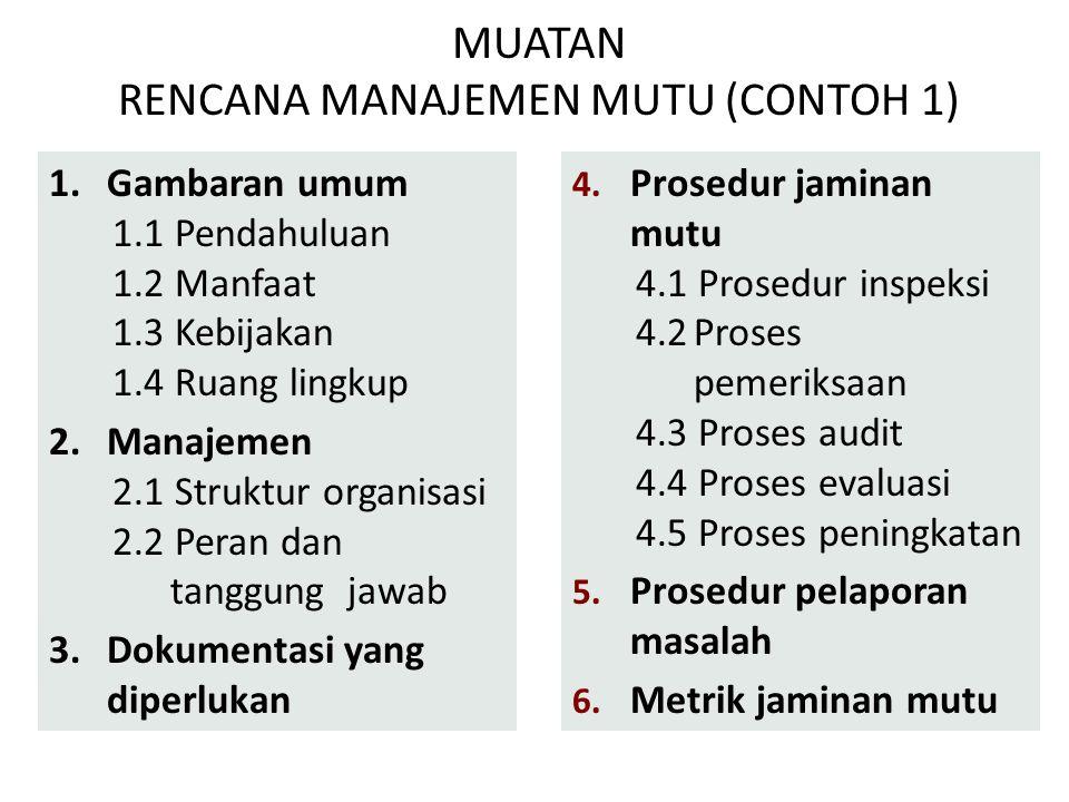 MUATAN RENCANA MANAJEMEN MUTU (CONTOH 1) 1.Gambaran umum 1.1 Pendahuluan 1.2 Manfaat 1.3 Kebijakan 1.4 Ruang lingkup 2.Manajemen 2.1 Struktur organisa