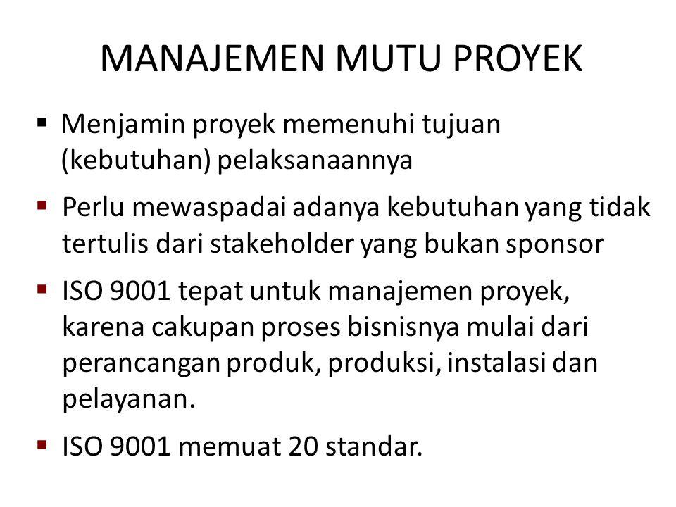 MANAJEMEN MUTU PROYEK  Menjamin proyek memenuhi tujuan (kebutuhan) pelaksanaannya  Perlu mewaspadai adanya kebutuhan yang tidak tertulis dari stakeh