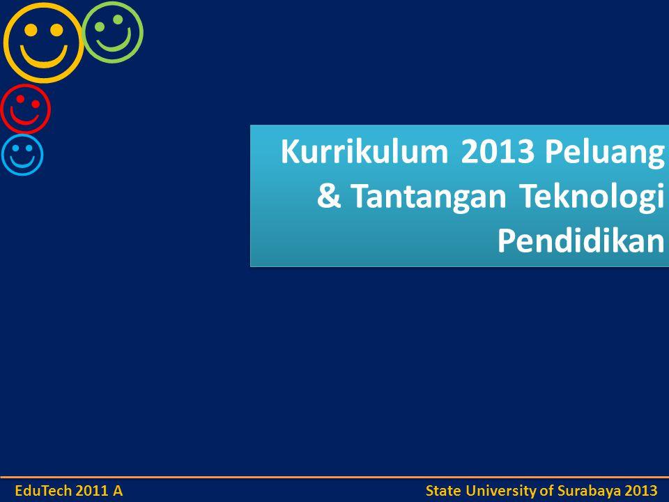 Kurrikulum 2013 Peluang & Tantangan Teknologi Pendidikan Kurrikulum 2013 Peluang & Tantangan Teknologi Pendidikan EduTech 2011 A State University of Surabaya 2013