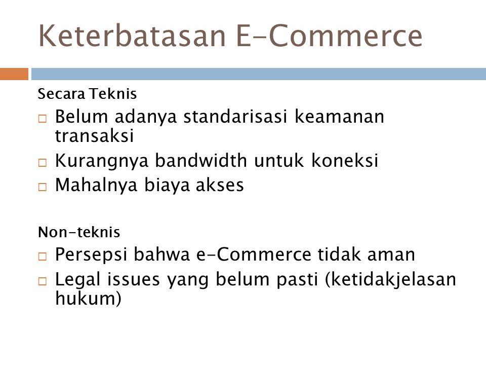 Keterbatasan E-Commerce Secara Teknis  Belum adanya standarisasi keamanan transaksi  Kurangnya bandwidth untuk koneksi  Mahalnya biaya akses Non-te